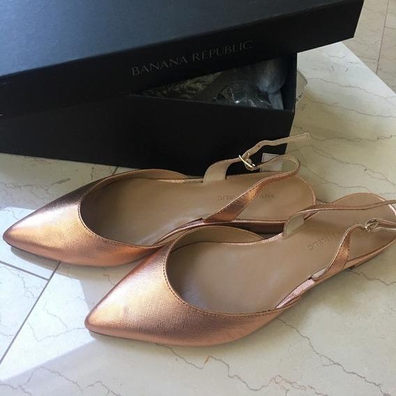 Banana Republic Zapatos Flats De Piel Rose Gold Nuevos 3 Mex