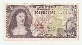 Billete 2 Pesos Oro Del 20 De Julio De 1977. Envío Gratis.