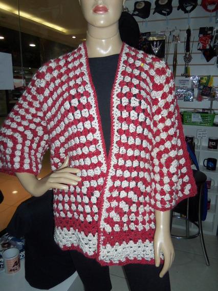 Blusa De Frio Casaco Crochê Tipo Kimono