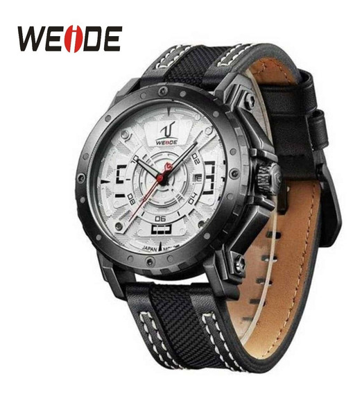 Relógio Masculino Original Weide 1601 Couro Com Fundo Branco