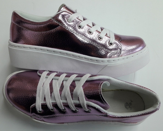 Zapatillas Dama Metalizadas Plataforma Cosida Lila