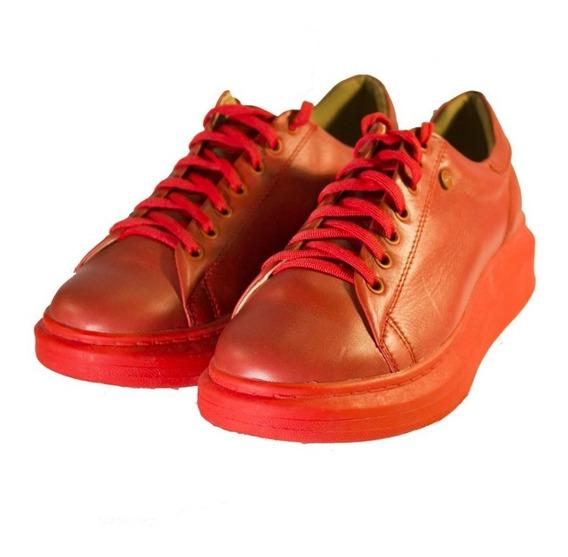 Zapatillas Rojas Altas 0029 Mujer Urbanas Nuevos Oferta!!!