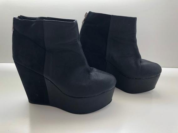 Zapatos Plataformas Botas De Eco Cuero Negro De H&m