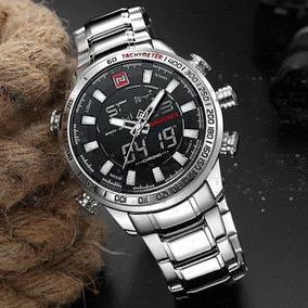 Relógio Masculino Naviforce Analógico E Digital Grande Prata