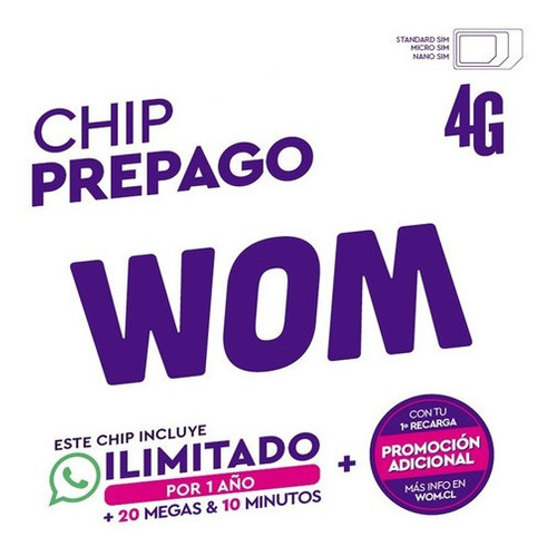 Imagen 1 de 5 de Pack Sub (25+5) Simcard Prepago Wom. Envío Gratis!