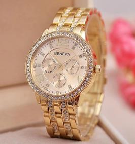 Relógio Dourado Com Diamantes E Pulseira De Aço Feminino