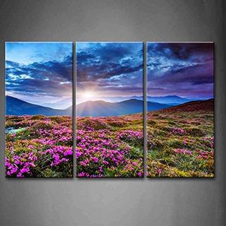 3 Paneles Arte De La Pared Atardecer Azul En Las Montañas Pa