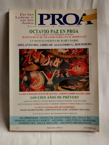 Imagen 1 de 5 de Proa Letras Artes Octavio Paz Marzo Abril 2000 N°46 Especial