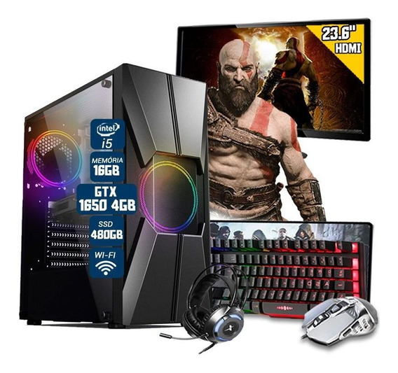 Pc Gamer Completo I5 6ºger. Gtx 1650 16gb Ssd 480gb Mon.23.6