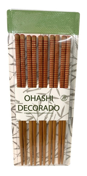 Paquete De 10 Pares De Ohashi De Bambú Decorado Reutilizable