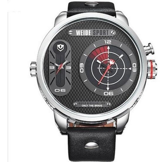 Relógio Masculino Weide Analógico 3409 Prata Preto Original