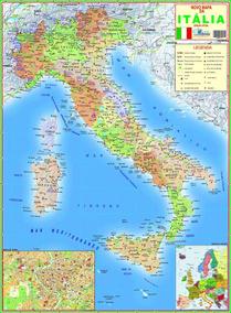 Mapa Geo Político Gigante Da Itália Tamanho 1,20 X 0,90