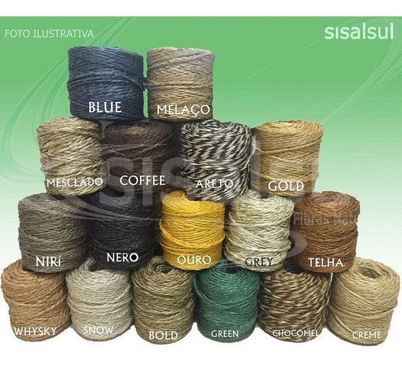 Kit 6 Rolos - Fio Sisal Colorido Para Garrafinha (aprox 82m)
