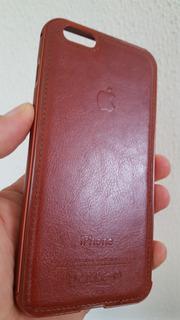Capa iPhone 6 Plus Couro Borda Metal Preta Brca Marrom Rosa