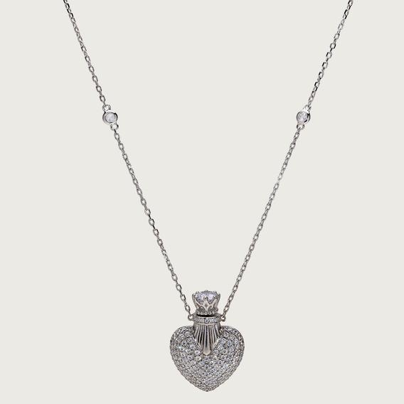 Gargantilha Coração Em Prata Com Zircônias Brancas