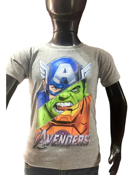 Remera Avengers Vengadores Niño Doble Estampa Premium