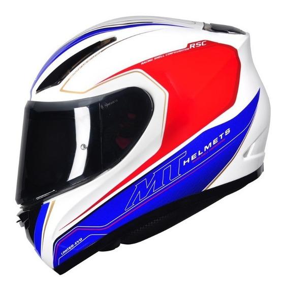 Capacete Moto Mt Revenge Limited Evo Branco Azul Vermelho