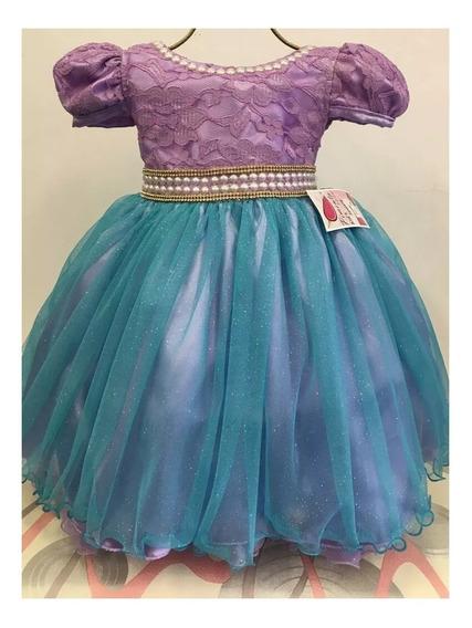 Vestido Infantil Pequena Sereia Ariel Do 1 Ao 3 + Coroa
