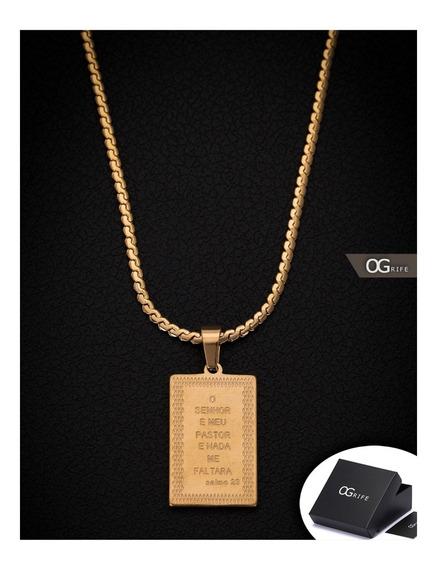 Corrente Cordão Pingente Salmo Aço Inox J-424 Banhado Ouro