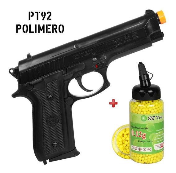 Pistola Airsoft Spring Taurus Pt92 + Bbs Bb King 0.12g