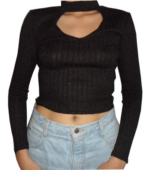Suéter Negro Tipo Crop Top