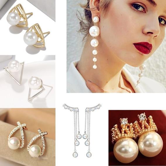 Lote 6 Diferentes Aretes Con Perlas Para Dama Moda Corea