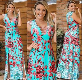 Vestido Longo Viscolycra Fenda Dupla Estampas Floral