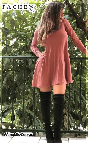 Vestido Linea A Rosa Palo M07