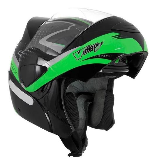 Capacete para moto escamoteável Pro Tork V-Pro Jet 2 Carbon preto, verde tamanho 60