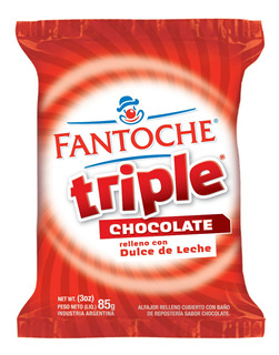 Alfajor Triple Chocolate Fantoche Dulce De Leche 85g X1 Uni