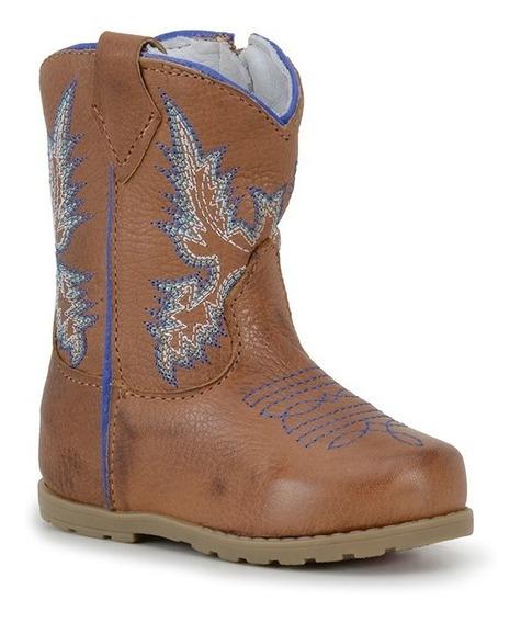 Botinha Baby Couro Legitimo Cano Bordado Azul Capelli Boots