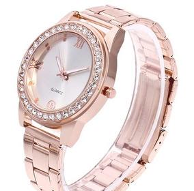 Relógio Luxo Feminino Com Diamantes Artificiais Rosa Dourado
