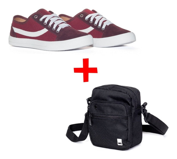 Combo Tenis New Schol Eco Caramelo + Shoulderbag Wg