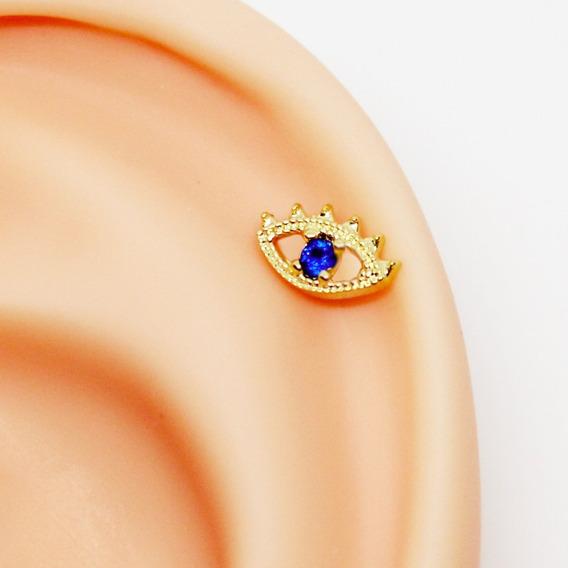 Piercing Helix Olho Grego Folheada A Ouro Pedra Safira