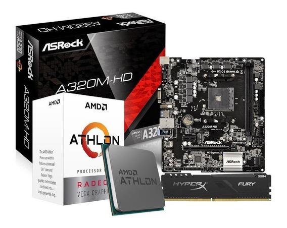 Kit Processador Athlon 3000g Asrock A320m-hd 8gb Hx Fury