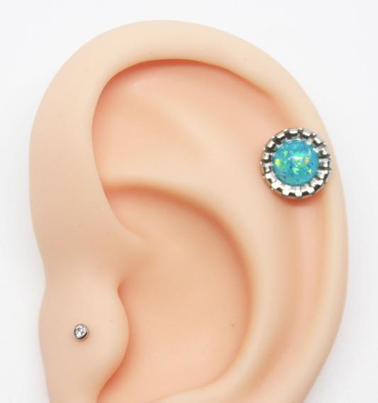 Piercing Flat Helix Opala Azul Sky Aço Cirúrgico