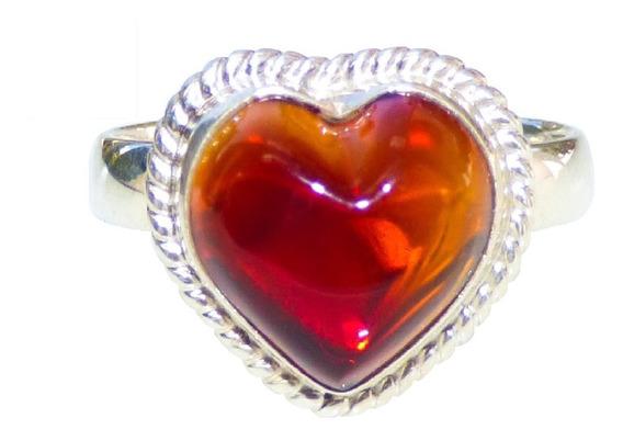Hermoso Anillo De Ámbar Auténtico Y Plata Ley #6.5 Corazón