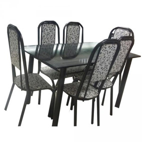 Conjunto Mesa Tubular 6 Cadeiras Preto Floral - Bm Tubulares