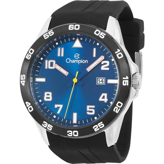 Relógio Champion Masculino Azul Pulseira Silicone Preta