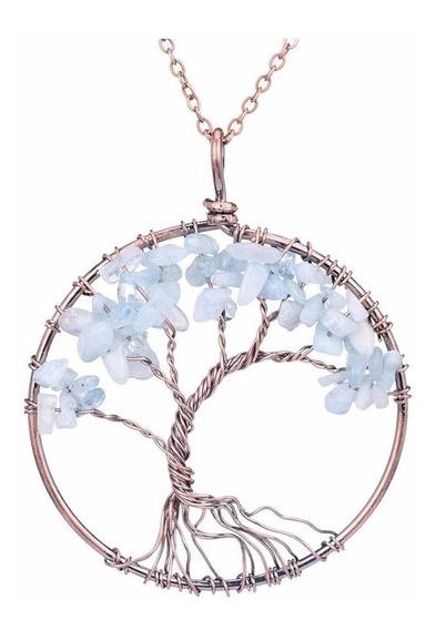 Colar Pedra Cristal Árvore Da Vida Água Marinha Promoção