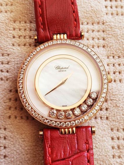 Relógio De Luxo Feminino Pulseira Couro Vermelho
