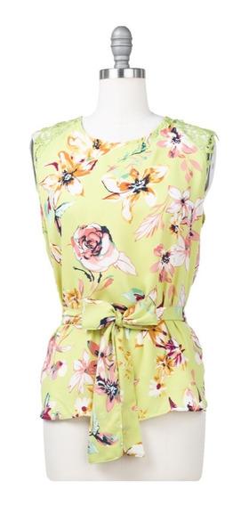 Blusa Floral Peplum Con Lazo En Cintura, Crochet En Hombros.