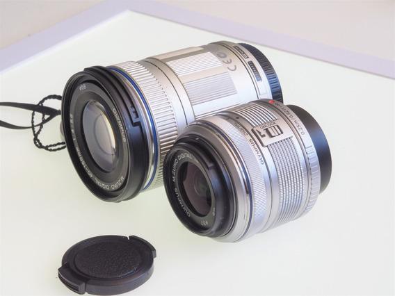 R$899 2 Lentes 14-42 E 40-150mm Olympus Panasonic Mft M4/3