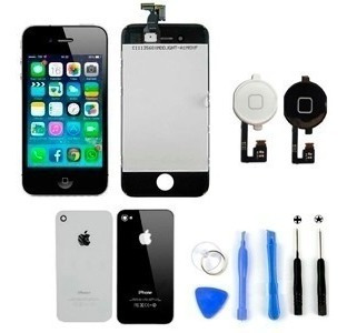 Tela iPhone 4 E 4s Lcd,tampa Traseira, Botão Home,kit Chaves