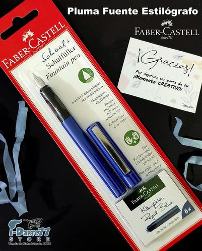 Imagen 1 de 1 de Faber Castell Pluma Estilográfico+6 Repuestos De Tinta Azul