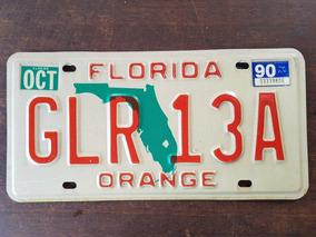 Placa Automotiva Americana Da Florida De 1990