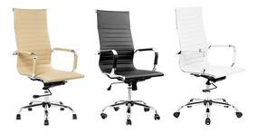 Cadeira De Escritório Design Italiano Em Couro Pu Com Relax