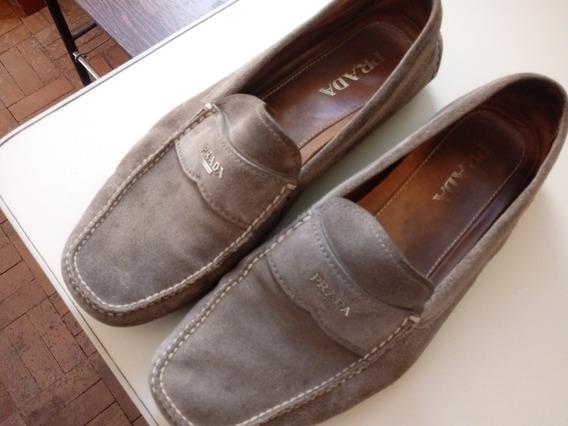Sapato Mocassim Prada Camurça Cinza Numero 43