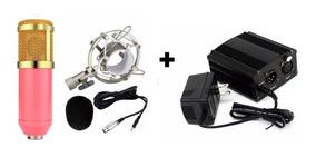 Kit Microfone Condensador Bm800 Rosa Phantom Power Fonte 48v