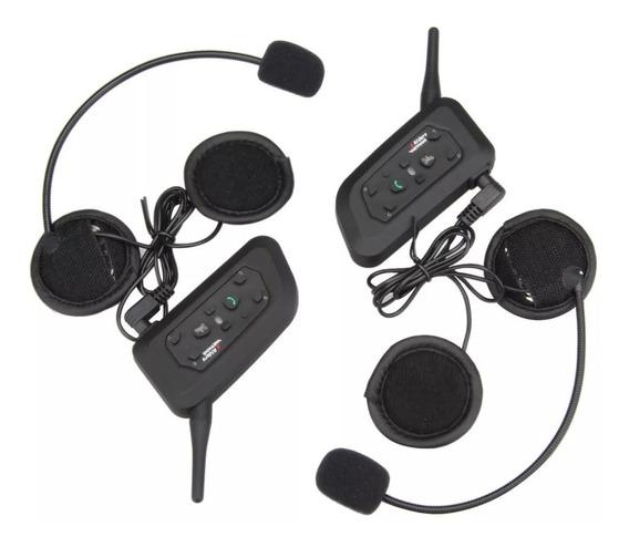 Kit Intercomunicadores 2pz Moto Casco Bluetooth V6 Pro